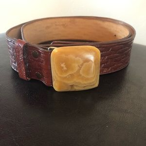 Craftsman Brown Stone Western Embossed Boho Belt